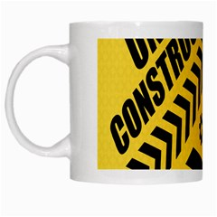 Under Construction Line Maintenen Progres Yellow Sign White Mugs
