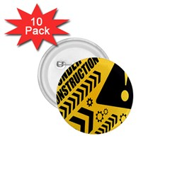 Under Construction Line Maintenen Progres Yellow Sign 1 75  Buttons (10 Pack)