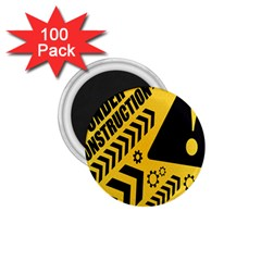 Under Construction Line Maintenen Progres Yellow Sign 1 75  Magnets (100 Pack)