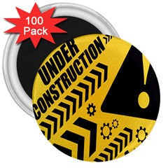 Under Construction Line Maintenen Progres Yellow Sign 3  Magnets (100 Pack)