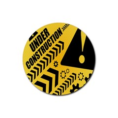 Under Construction Line Maintenen Progres Yellow Sign Rubber Round Coaster (4 Pack)