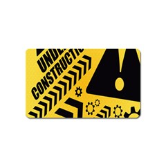 Under Construction Line Maintenen Progres Yellow Sign Magnet (name Card)