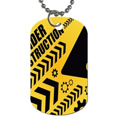 Under Construction Line Maintenen Progres Yellow Sign Dog Tag (one Side)