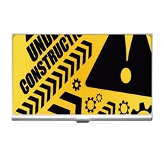 Under Construction Line Maintenen Progres Yellow Sign Business Card Holders