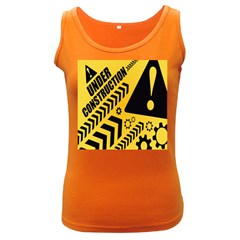 Under Construction Line Maintenen Progres Yellow Sign Women s Dark Tank Top by Alisyart