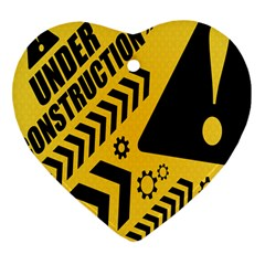 Under Construction Line Maintenen Progres Yellow Sign Heart Ornament (two Sides)