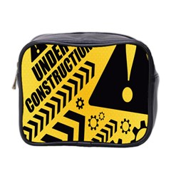 Under Construction Line Maintenen Progres Yellow Sign Mini Toiletries Bag 2 Side