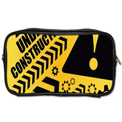 Under Construction Line Maintenen Progres Yellow Sign Toiletries Bags 2 Side
