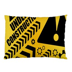 Under Construction Line Maintenen Progres Yellow Sign Pillow Case (two Sides)