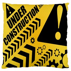 Under Construction Line Maintenen Progres Yellow Sign Large Cushion Case (one Side)