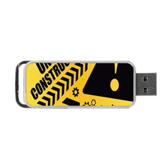 Under Construction Line Maintenen Progres Yellow Sign Portable Usb Flash (two Sides)