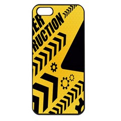 Under Construction Line Maintenen Progres Yellow Sign Apple Iphone 5 Seamless Case (black)