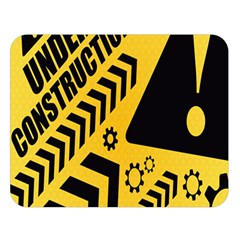 Under Construction Line Maintenen Progres Yellow Sign Double Sided Flano Blanket (large)