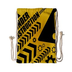Under Construction Line Maintenen Progres Yellow Sign Drawstring Bag (small)