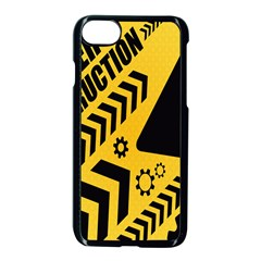 Under Construction Line Maintenen Progres Yellow Sign Apple Iphone 7 Seamless Case (black)