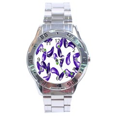 Vegetables Eggplant Purple Stainless Steel Analogue Watch