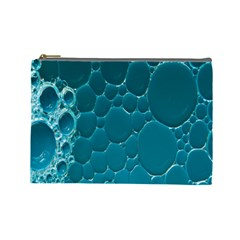 Water Bubble Blue Cosmetic Bag (large)