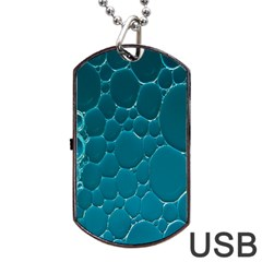 Water Bubble Blue Dog Tag Usb Flash (one Side)