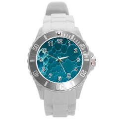 Water Bubble Blue Round Plastic Sport Watch (l)
