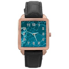 Water Bubble Blue Rose Gold Leather Watch