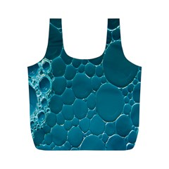 Water Bubble Blue Full Print Recycle Bags (m)