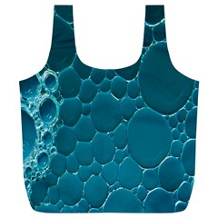 Water Bubble Blue Full Print Recycle Bags (l)