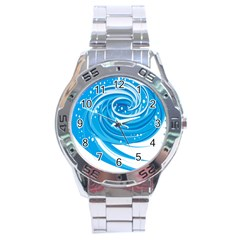 Water Round Blue Stainless Steel Analogue Watch
