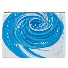 Water Round Blue Cosmetic Bag (xxl)
