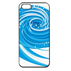 Water Round Blue Apple Iphone 5 Seamless Case (black)