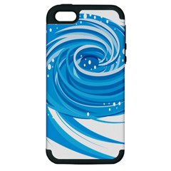 Water Round Blue Apple Iphone 5 Hardshell Case (pc+silicone)