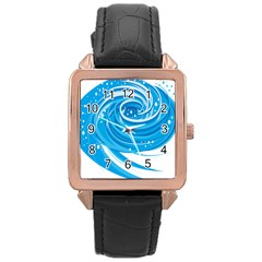 Water Round Blue Rose Gold Leather Watch