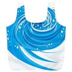 Water Round Blue Full Print Recycle Bags (l)