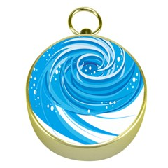 Water Round Blue Gold Compasses by Alisyart