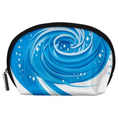 Water Round Blue Accessory Pouches (large)  by Alisyart