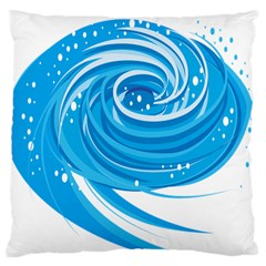 Water Round Blue Standard Flano Cushion Case (one Side)
