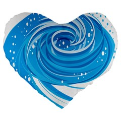Water Round Blue Large 19  Premium Flano Heart Shape Cushions