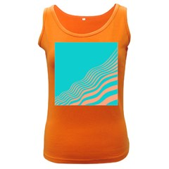 Water Waves Blue Orange Women s Dark Tank Top