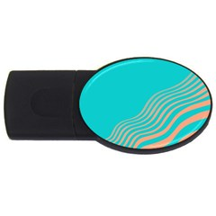 Water Waves Blue Orange Usb Flash Drive Oval (4 Gb) by Alisyart