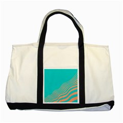 Water Waves Blue Orange Two Tone Tote Bag by Alisyart