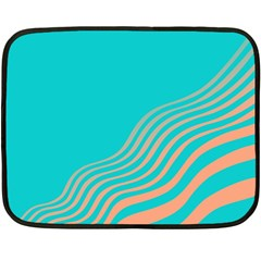 Water Waves Blue Orange Double Sided Fleece Blanket (mini)