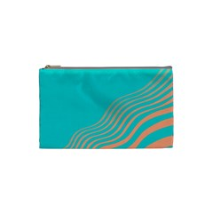 Water Waves Blue Orange Cosmetic Bag (small)