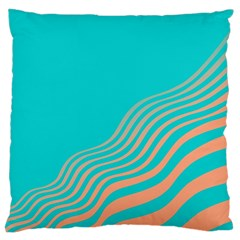 Water Waves Blue Orange Large Cushion Case (one Side) by Alisyart
