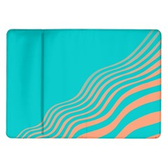 Water Waves Blue Orange Samsung Galaxy Tab 10 1  P7500 Flip Case