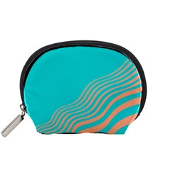 Water Waves Blue Orange Accessory Pouches (small)