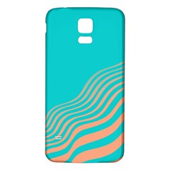 Water Waves Blue Orange Samsung Galaxy S5 Back Case (white) by Alisyart