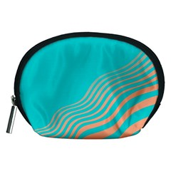Water Waves Blue Orange Accessory Pouches (medium)