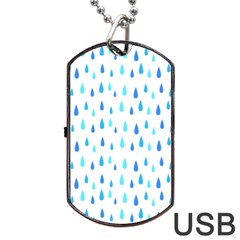 Water Rain Blue Dog Tag Usb Flash (one Side)
