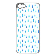 Water Rain Blue Apple Iphone 5 Case (silver)