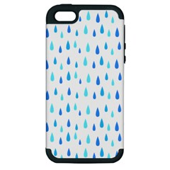 Water Rain Blue Apple Iphone 5 Hardshell Case (pc+silicone)