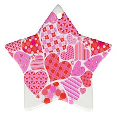 Valentines Day Pink Heart Love Ornament (star)